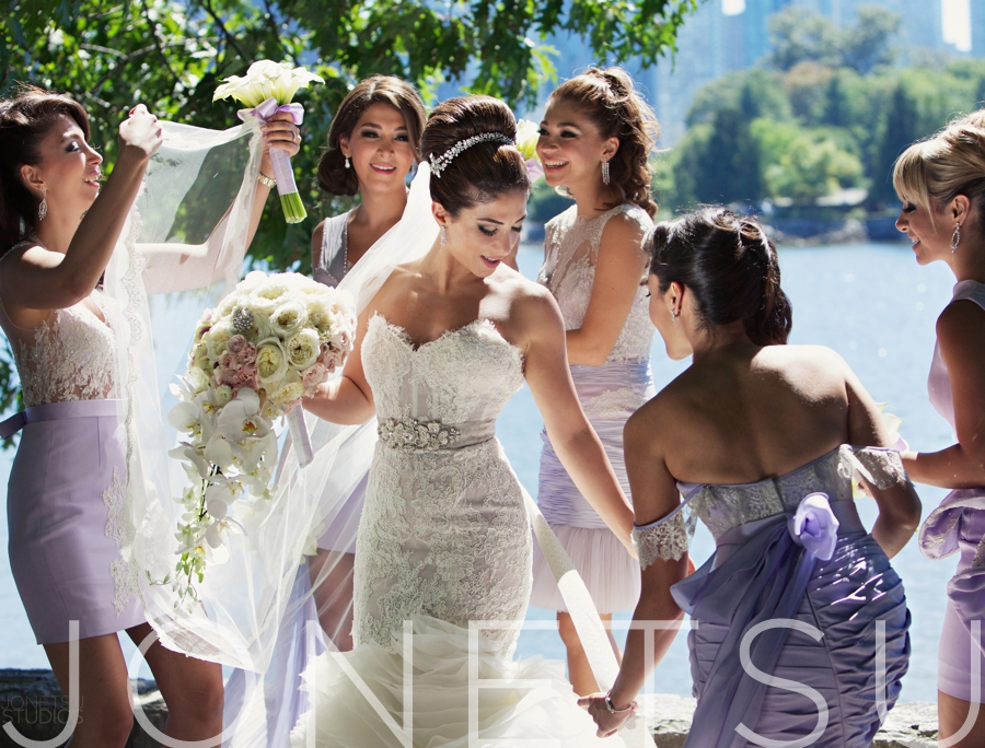 Elnaz is wearing a Lazaro gown from Bisou Bridal and her bridesmaids are wearing dresses from Manuel Mendoza